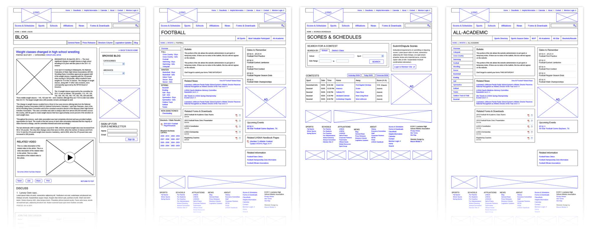 LHSAA Website Wireframes