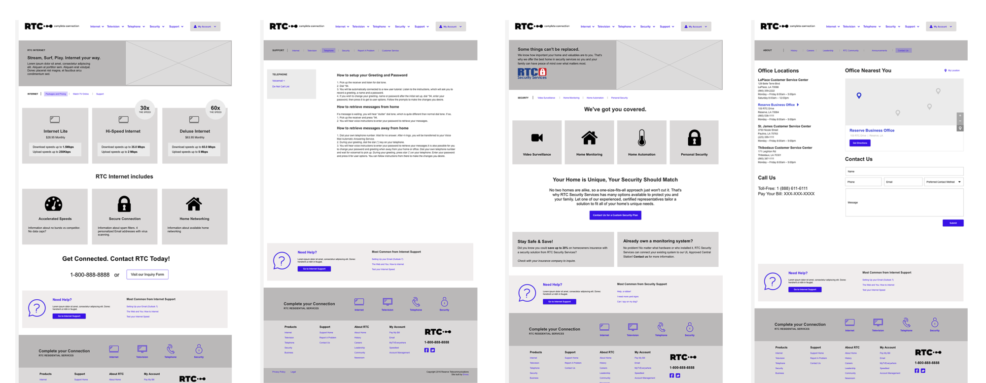 Reserve Telecommunication Wireframes