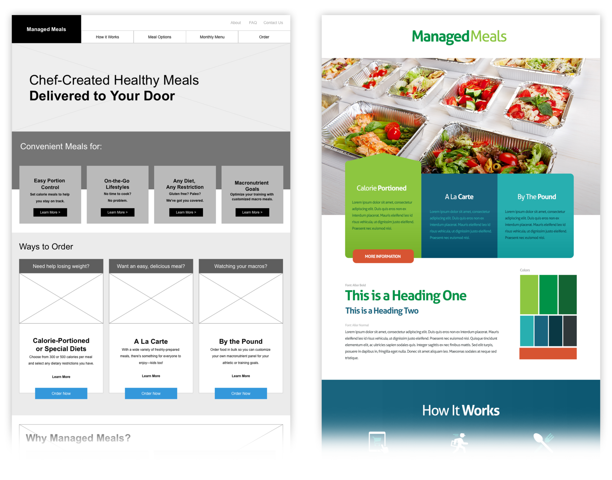 Managed Meals Wireframes & Styletiles