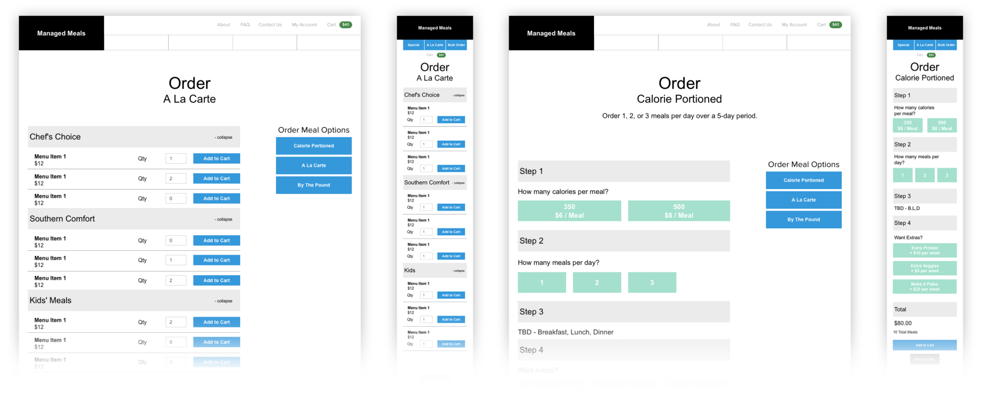 Managed Meals Wireframes